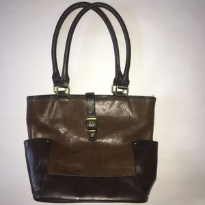 Tignanello Bag 2 tone brown w brass hardware